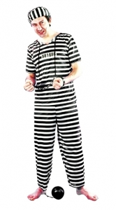 Déguisement rayé de prisonnier