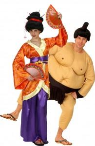déguisement couple sumo et geisha