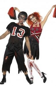 déguisement footballeur américain et pom-pom girl zombies