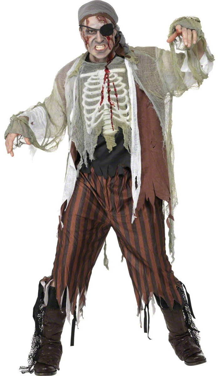 D guisement pirate zombie costume horrible pas cher d guisement halloween - Maquillage pirate homme ...