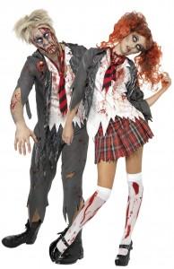 déguisement couple d'écoliers zombies