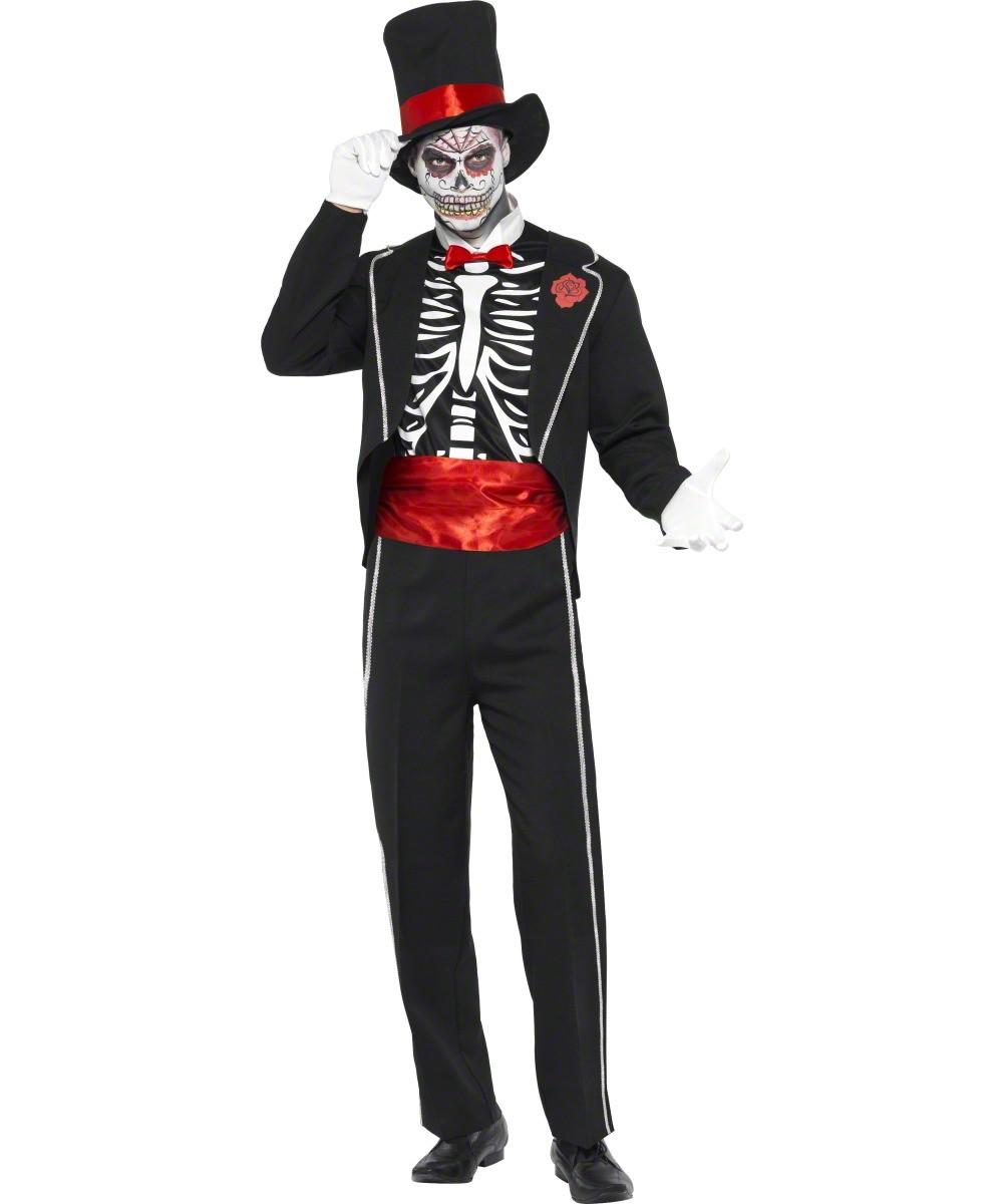 d guisement gentleman squelette costume mort homme soir e halloween. Black Bedroom Furniture Sets. Home Design Ideas