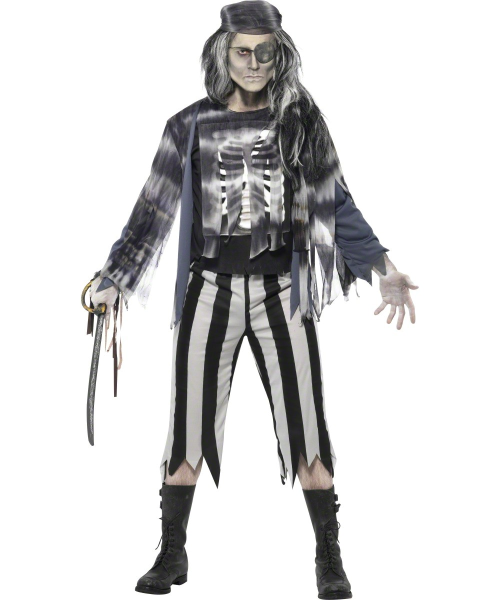 D guisement pirate fant me homme costume pirate zombie - Pirate fantome ...