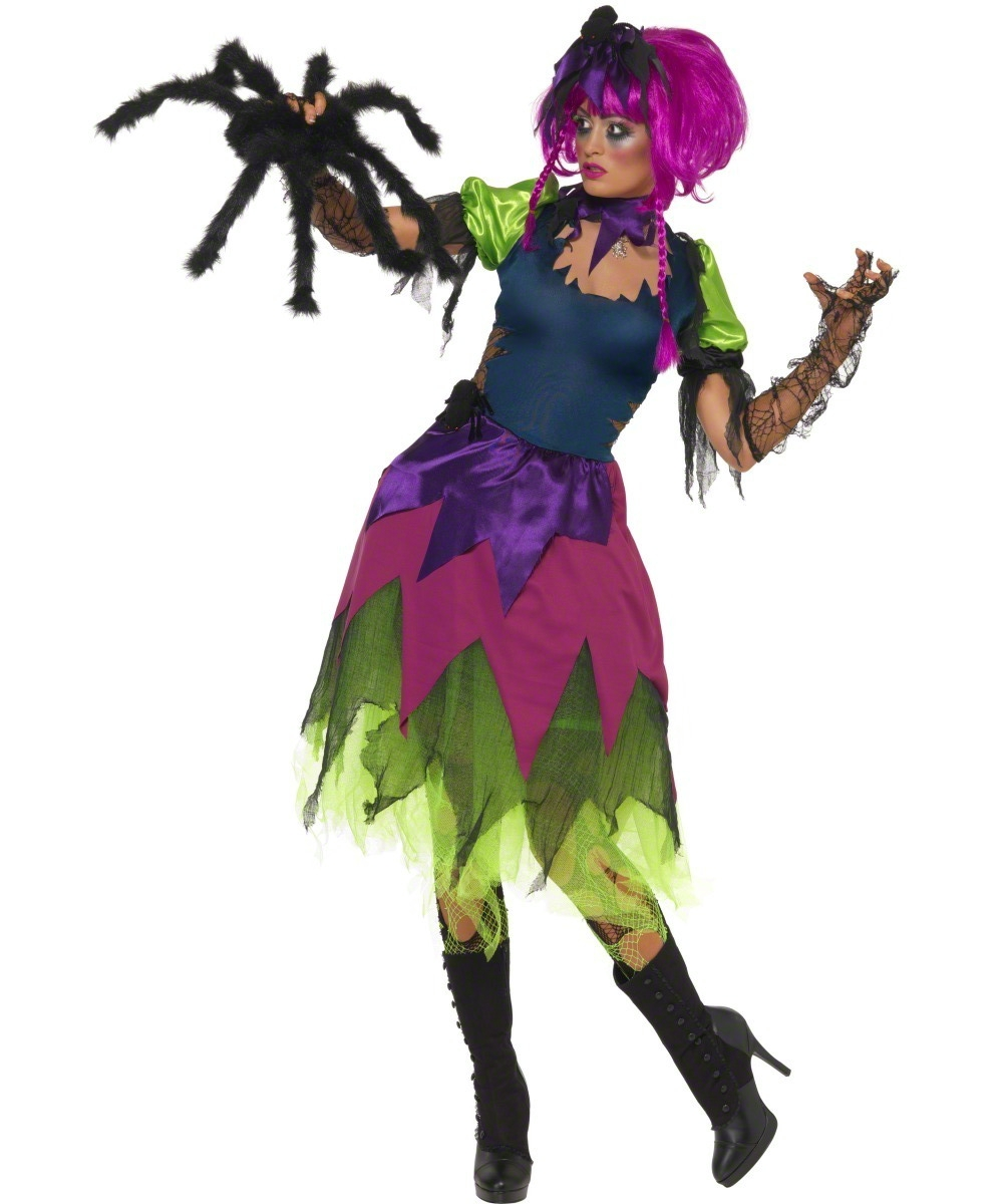 D guisement sorci re fluo costume sorci re araign e for Comidee maquillage halloween adulte