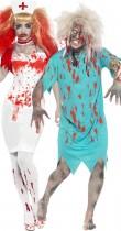 Déguisement couple infirmière et son patient zombie