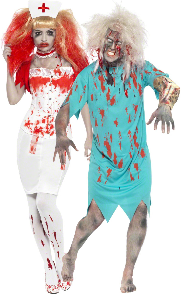 d guisement couple infirmi re et son patient zombie soir e halloween. Black Bedroom Furniture Sets. Home Design Ideas