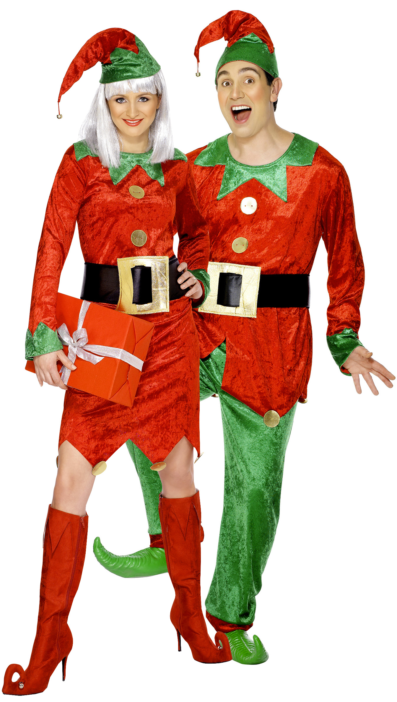 e7fe6c673a7e8 Déguisement couple d elfes de Noël   Lutin du Père Noël - Fête de ...
