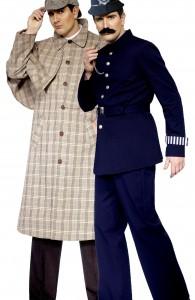 déguisement couple Sherlock Holmes et policier anglais