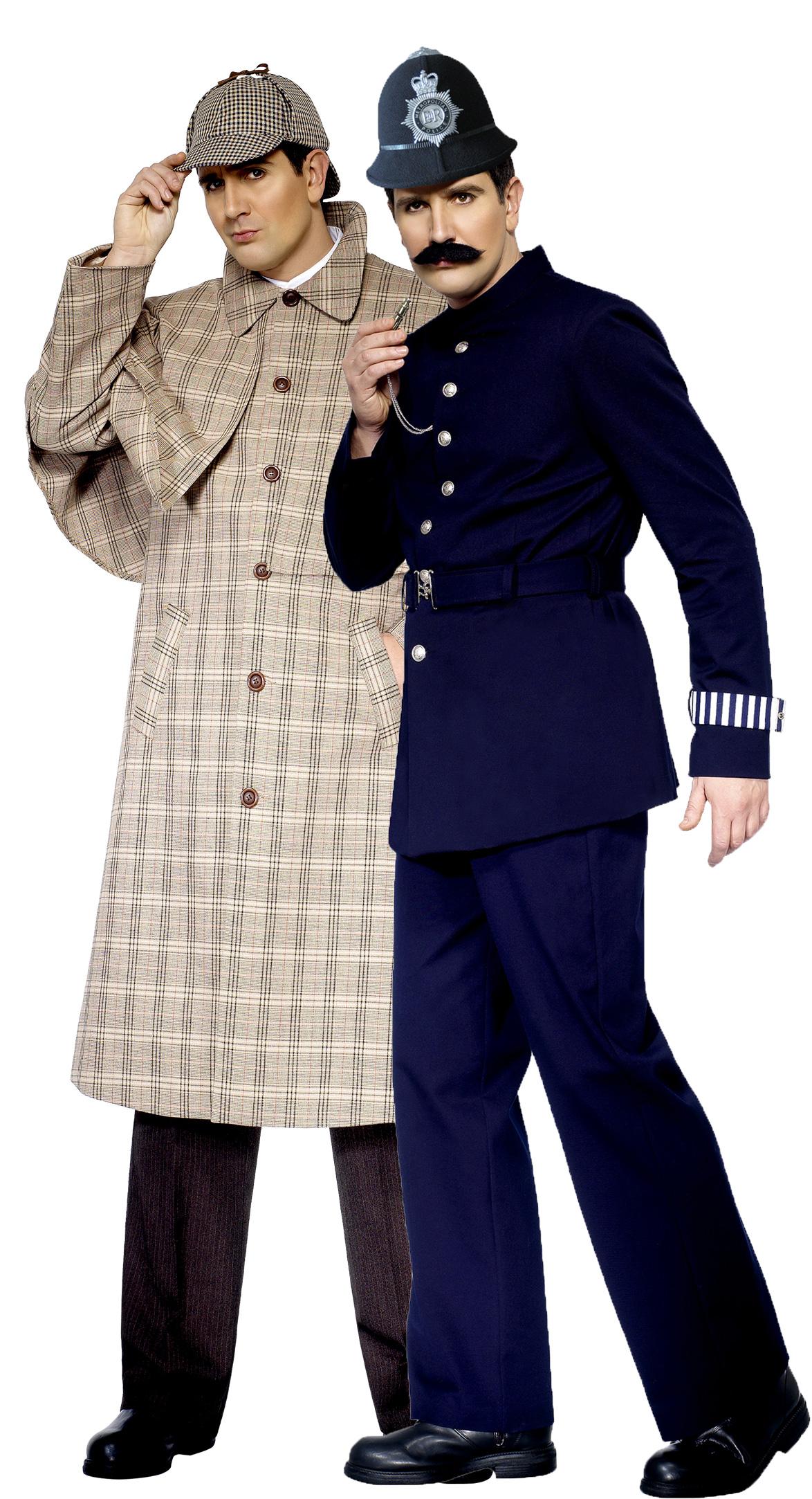 d guisement couple sherlock holmes et policier anglais costume de d tective priv. Black Bedroom Furniture Sets. Home Design Ideas