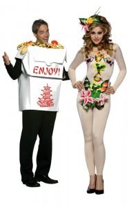 Déguisement couple boite chinoise et sushi